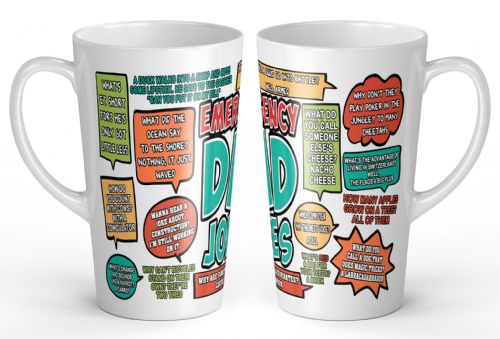 17oz Emergency Dad Jokes Funny Novelty Gift Latte Mug